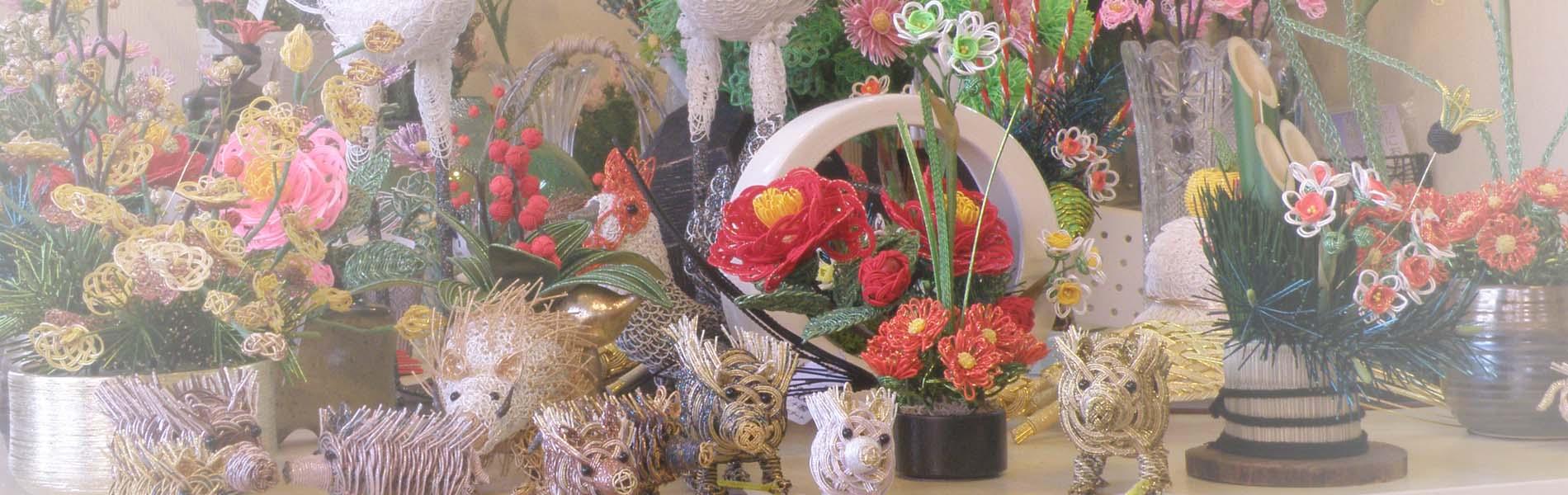 水引の小物 季節の花々、干支の置物
